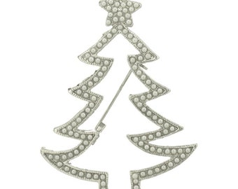 Pearl Outline Zigzag Christmas Tree Vintage Inspired Holiday Gift Brooch  pin HandCrafted P5533-S