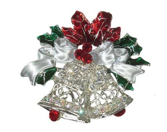 Traditional Christmas Bell Vintage inspired  Handcasted with Swarovski Crystals Holiday NEW  Gift Brooch pin P4796