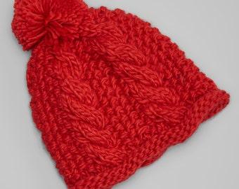 Red Pom-Pom Hand-Knit Chunky Beanie