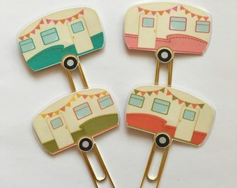 Camper Vintage Camper - Retro Camper Double Sided Planner Clip - Made to Order