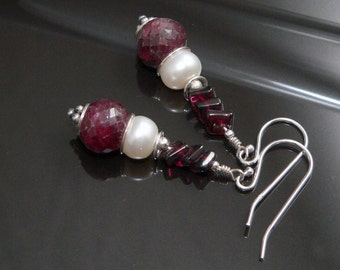 Faceted Ruby, Freshwater Pearls, Garnets and Sterling Silver Findings.