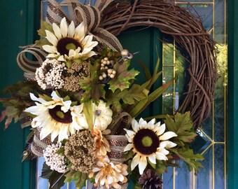 Wreath, Home Decor, Sunflower Wreath, Rustic Wreath, Front Door Wreath, Burlap Wreath, Fall Decor, Housewarming Gift, Fall Wreath