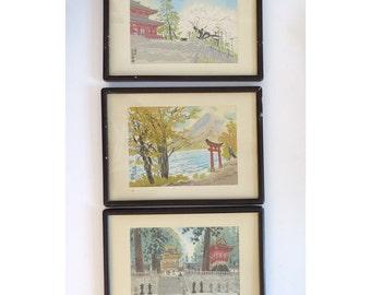Vintage Japanese Woodblock Prints — Kotozuka Eiichi — 3 of 4 Seasons of Nikko Japan