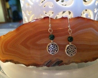 Petite Silver Celtic knot and Malachite gemstone earrings