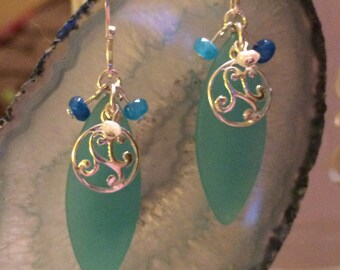 Sea blue glass earrings with silver swirl, blue crystals and freshwater pearls