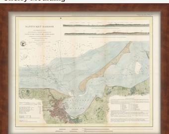 0539-Nantucket Harbor 1848 Colored Nautical Chart