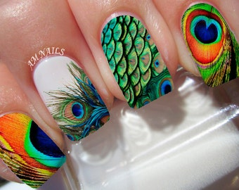 Peacock Feather Nail Decals