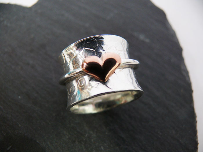 sterling silver worry ring or spinner ring