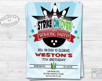 Bowling Invitation, Bowling Party Invitation, Bowling Birthday Invitation, Kids Bowling Party, Birthday Party, Bowling Invite, Printable