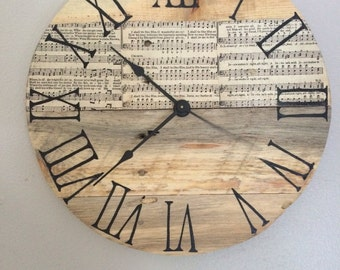 "Vintage Song Book Hymnal  or Music Pallet Clock - 12"" SAMPLE - custom one will be made on order"