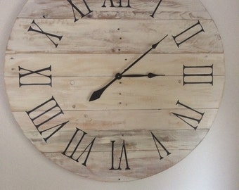 """Distressed White Pallet Clock With Black Roman Numerals - 35"""" Sample similar one will be made on order"""