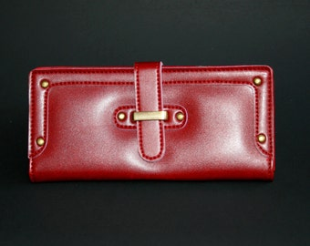 Womens Wallet, Leather Wallet, Red Wallet, Red Purse, Red Leather Purse, Red Leather Wallet.