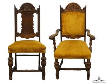 6 Antique 1920's Gothic Revival Jacobean Elizabethan Dining Chairs