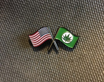 American pot flag hat pin