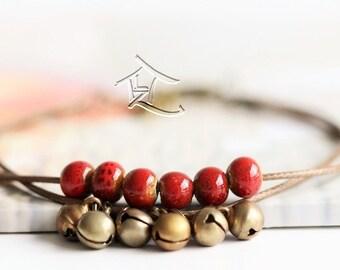 handmade tiny Ceramic beads/bell bracelets - Over 8 colours ! *ON SALE*