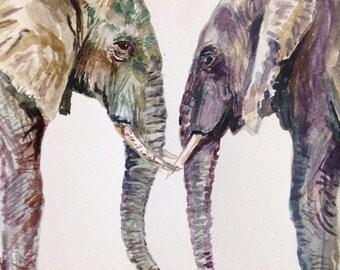 Elephant Painting Nursery Safari Original Watercolor Art by Cris Clapp Logan