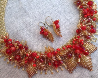 Ukrainian jewelry. Ukrainian necklace. Unique necklace for woman. Ukraine. Beaded necklace. Gold and red necklace