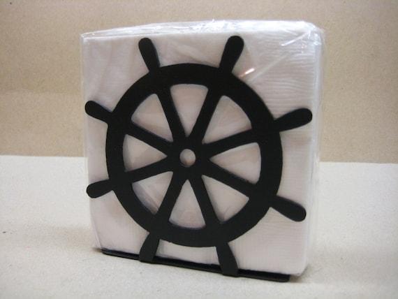 Ship 39 s wheel napkin holder letter holder nautical decor - Coastal napkin holder ...