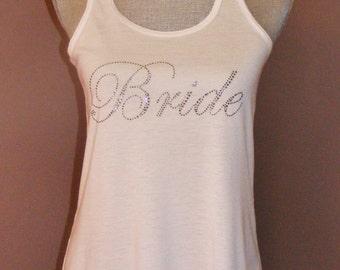 BLING BRIDE TANK - White flowy