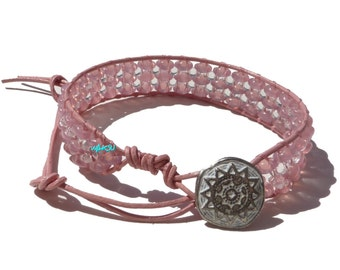 Glass beads and leather Wrap Bracelet