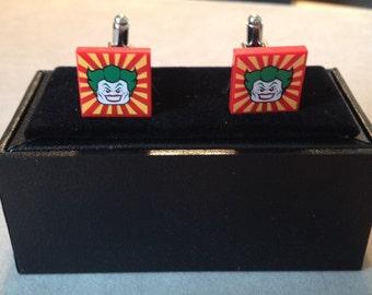Joker themed lego tile cufflinks