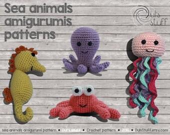 Octopus, seahorse, crab, jellyfish amigurumi pattern