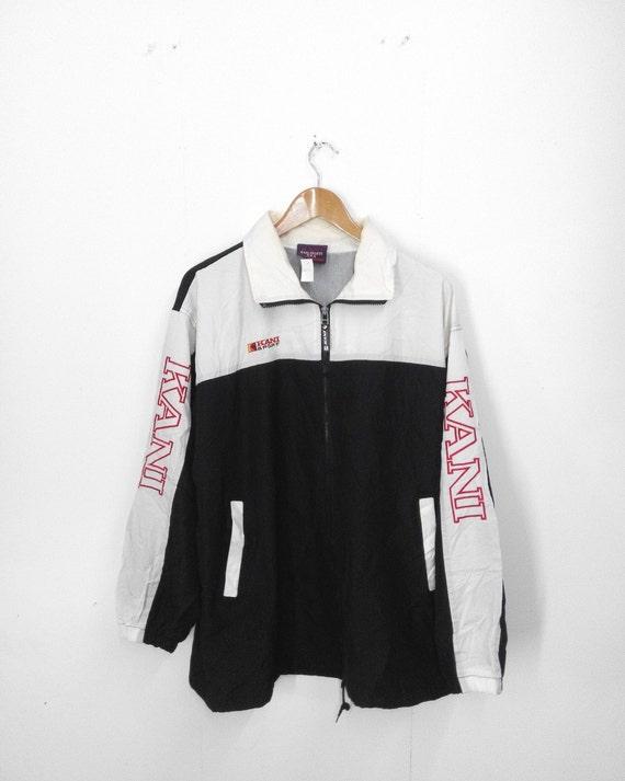 vintage 80 39 s karl kani sport black zipper jacket big logo. Black Bedroom Furniture Sets. Home Design Ideas