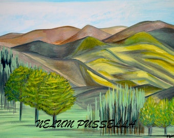 Yellow Valley-Giclee print of Original Watercolor painting