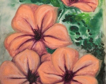 Pink Flowers-Giclee print of Watercolor painting