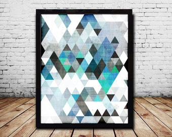 Geometric Art Geometric Abstract Print Blue Print  Blue Abstract Art Print Abstract Print