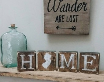 Rustic New Jersey Blocks Reversible New Jersey Decor New Jersey Home New