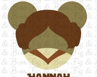 Princess Leia Mickey Mouse Star Wars Disney Iron On Transfer Personalized Free