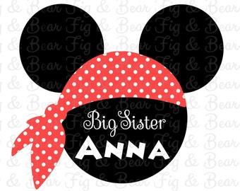 Minnie Mouse Pirate Disney Big Sister PersonalizedShirt Iron On transfer for girls