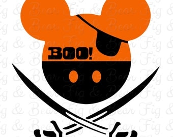 """Disney Mickey Mouse Pirate Halloween T Shirt Iron On Transfer for Boys """"BOO""""  Personalized FREE"""