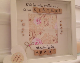 side by side or miles apart we are sisters picture frame