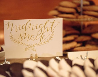 """Midnight Snack Sign for Cookie or Dessert Table 5"""" x 7"""" - gold calligraphy"""