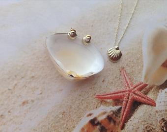 Nautical Metallic Tint Shell Charm Necklace Pendant Chain Jewellery Set Beach Earring Studs