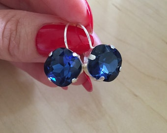 50%OFF SALE! Indigo Blue Earrings. Silver Plated. Crystal Stone Earrings.