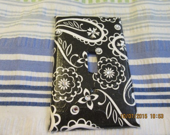 Unique Upcycled Switchplate - Black and White Paisley - With Bling - Single Switchplate