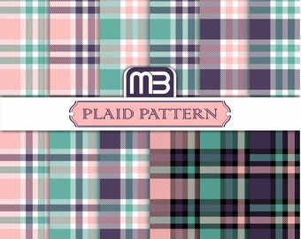 Plaid Pattern digital paper pack - printable papers - Instant download - 12x12 inches papers - Plaid Patterns for home printing - DIY