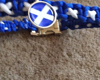 Scottish Saltire paracord dog collar