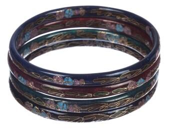 Set of Four Percelain Cloisonné Bangles