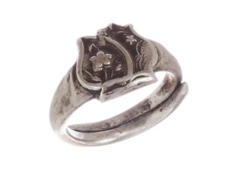 Art Deco Sterling Silver Chinese Floral Ring