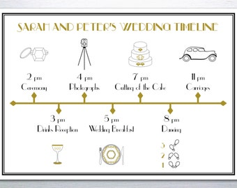 Digital 1920s Great Gatsby Wedding Timeline: Black and Gold