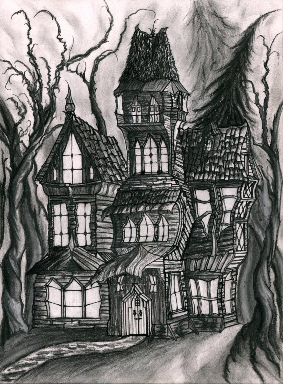 Impression d 39 un dessin original d 39 une maison hant e - Dessin de maison hantee ...