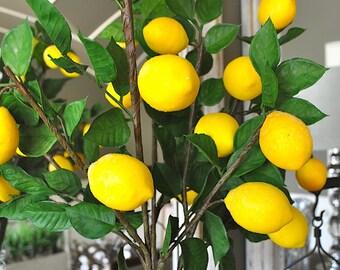 Lemon spray, lemon stems, lemons on stems, faux lemons and foliage, lemon arrangement, set of 3 stems