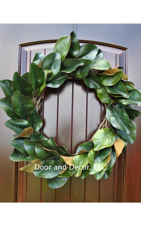 Magnolia Leaf Wreath: Magnolia WreathArtificial Magnolia LeavesFront Door