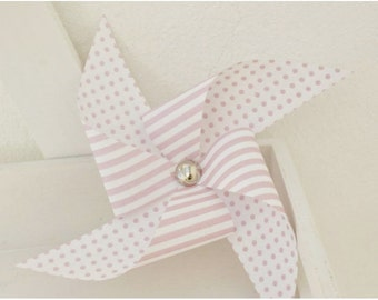 Set of 3 Baby Pink Paper Pinwheels  Baby Party decor  Baby Shower Pink Decor, Christening Decorations Ideas, Baby Shower Party Ideas.