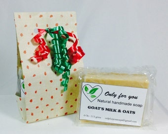 Goats milk & oats natural soap, vegan soap, handmade,light exfoliant, facial and body, cold process, delicate fragrance, all skin