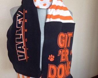Valley Tigers Scarf, Valley Scarf, Tigers Scarf, Upcycled Tshirt Scarf, Val9